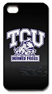 iPhone 4 Case,iPhone 4S Case,TCU Horned Frogs on Black PC Hard Shell Black Edges Case for iPhone 4 4S