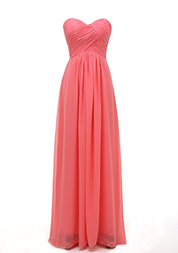 Kiss Dress Women's Sweetheart Chiffon Long Bridesmaid Dresses 2XL Coral