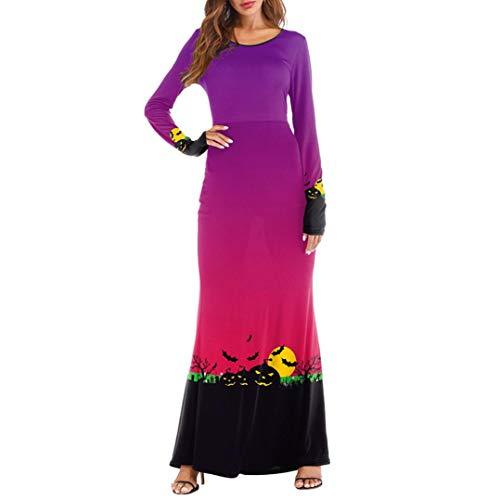 iYBUIA Halloween 3D Print Party Dresses Women Three Quarter Sleeve Pumpkins Casual Long Maxi Dresses(Purple,L)