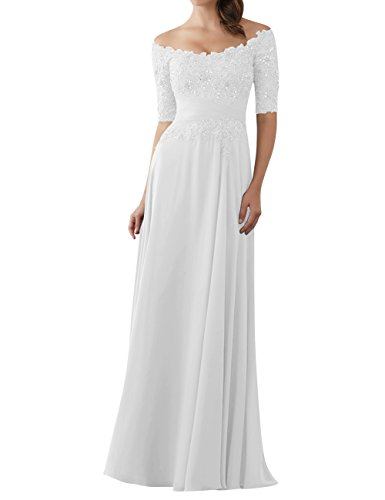 Evening Dresses Mother of The Bride Gowns with Sleeves Lace Long Chiffon Beaded White US12