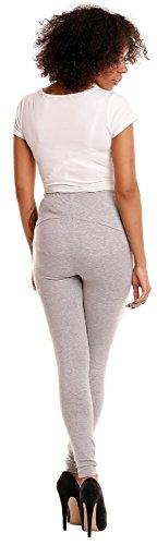 Happy Mama. Para mujer premama leggings banda elástica para la barriga. 775p Gris