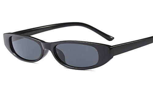 Small Plastic Sunglasses - EYESWING Square Sunglasses for Women Plastic Small Frame Vintage Design Polarized Lens Eyewear (Bright Black Frame/Gray Lens)