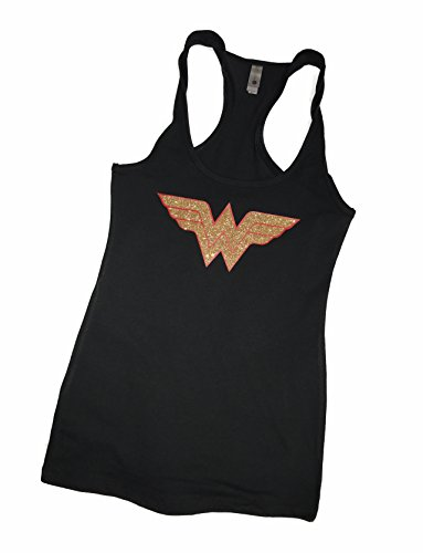 Devious Apparel 'Wonder Woman' Fitted Women's Glitter Tank Top - Cotton, Polyester Blend (MED, Black Glitter) -