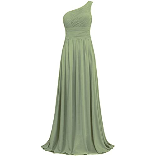 f1f0b655e2 ANTS Womens Pleat Chiffon One Shoulder Bridesmaid Dresses Long Evening Gown  Size 6 US Lemon Green