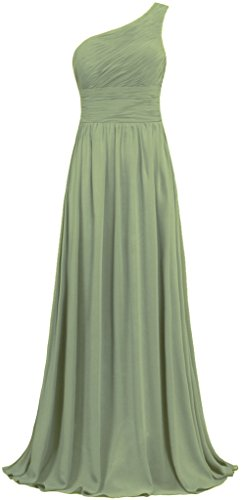Chiffon Pleats Evening Gown - ANTS Women's Pleat Chiffon One Shoulder Bridesmaid Dresses Long Evening Gown Size 14 US Lemon Green