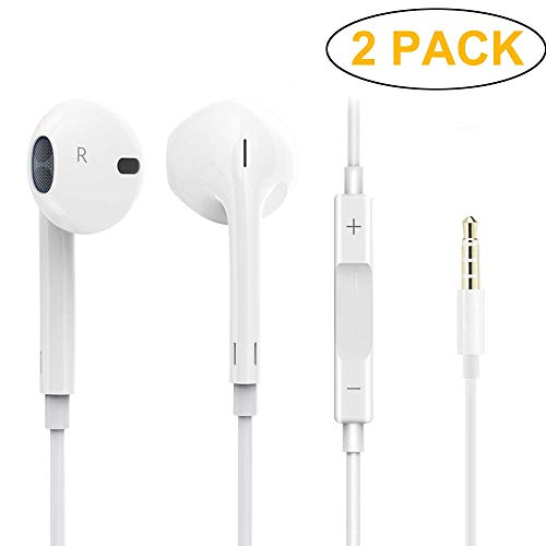 (2Pack) Headphones/Earbuds/Earphones, Super Premium in-Ear Wired Earphones with Remote & Mic Compatible with iOS Devices 6s/plus/6/5s/se/5c/iPad/MP3/Android Model