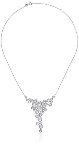 Platinum-Plated Swarovski Crystal Round Bezel Graduated Statement - Round Crystal Necklace Graduated