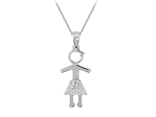 Pendentif Petite Fille Diamants-Femme- or Blanc 204P0036