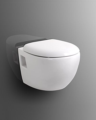 Wand WC weiß + WC Sitz / Deckel mit Soft Close + Quick Release / Spülrand geschlossen / Nanobeschichtung