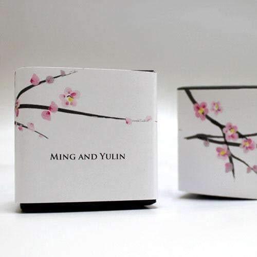 Cherry Blossom Cube Favor Box Wrap (Quantity of 20)