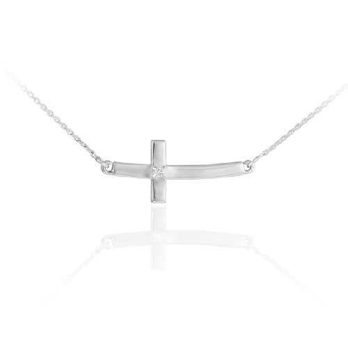 925 Sterling Silver Small Curved Diamond Pendant Sideways Cross Necklace (16