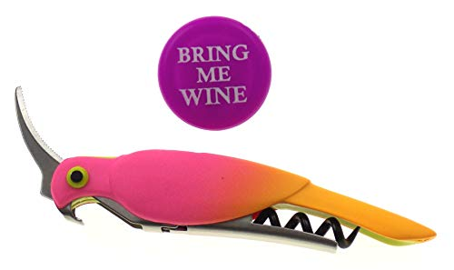 Corkatoo Parrot Waiter's Corkscrew & Bring Me Wine Bottle Cap Bundle - Pink Pastel Colors ()