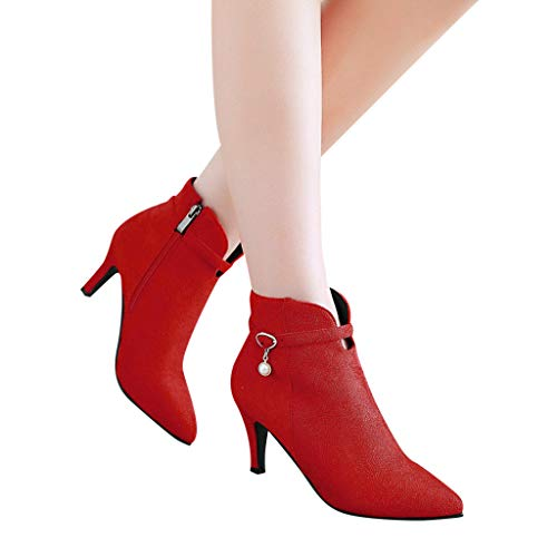 Women's Trendy Buckle Strap Side Zipper Ankle Booties High Heel Short Boots (Red, US:5.0)