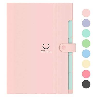 Lanivas Expanding File Folder 5 Pockets Plastic Accordion Document Organizer A4 Letter Size for School Office Travel - Free Labels