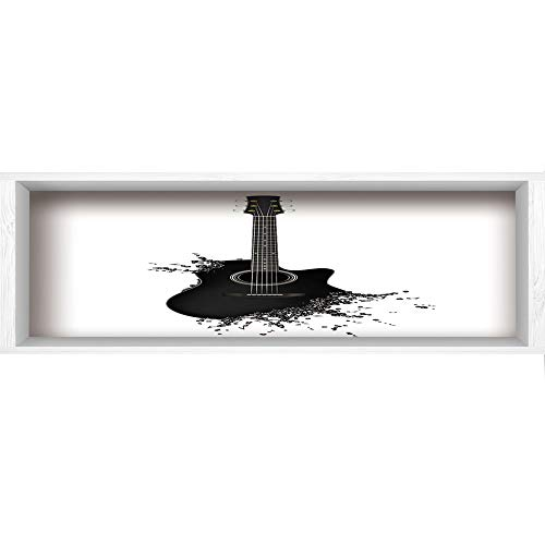 """3D Depth Illusion Wall Mural Stickers,70.8""""x23.6"""",Guitar,Monochrome Musical Instrument with Strings Acoustic Color Splashes Creative Outlet,Black White,White Wood Frame Style Home Decor Art Artwork"""