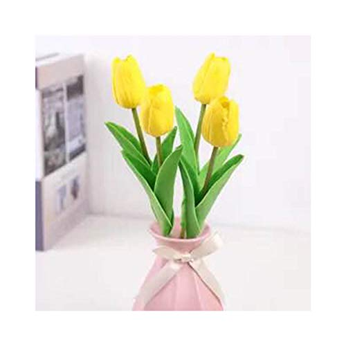 Changsha Xiaoxiao Li 1Pcs Tulip Artificial Flowers Real Touch artificiales para Decora Bouquet Flowers for Home Gift Wedding Decorative Flowers,Yellow