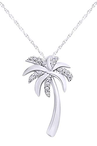 (Jewel Zone US Natural Diamond Accent Palm Tree Pendant in 10K White Gold )