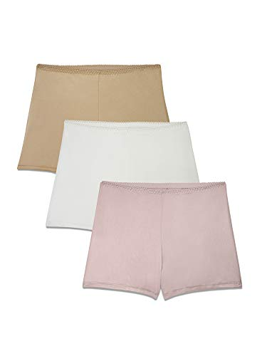 Brilliance by Vanity Fair Women's 3-Pack Undershapers Light Control Boyshort Panty 42301, Sheer Quartz/White/Honey Beige Large/7