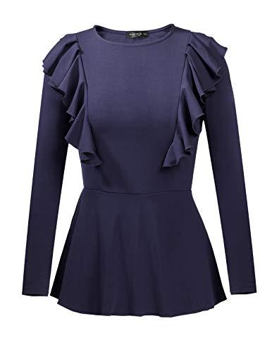 ANGGREK Women's Peplum Blouse Long Sleeve Round Neck Ruffle Tops Shirt Fall Navy Blue ()
