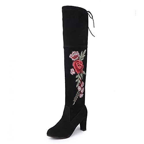 Lucyever Women Retro Embroidery Faux Suede Over The Knee Thigh High Boots Plus Size Black zDwB4
