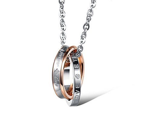 INBLUE Men,Women's 2 PCS Stainless Steel Pendant Necklace CZ Silver Gold Tone Black Ring Love Couple -with 20 and 23 Inch Chain by INBLUE (Image #3)