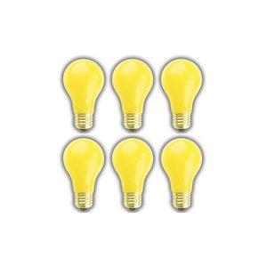 (6 PACK) 25 WATT A19 YELLOW BUG LIGHT SUPRA LIFE 5,000 HOUR YELLOW BUG LIGHT BULB 25 WATTS