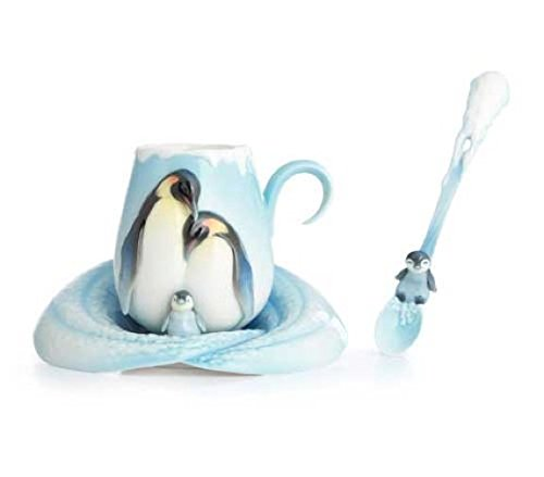 Franz Porcelain Playful Penguins Cup Saucer And Spoon