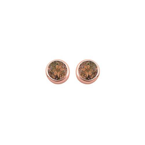 2.00 carat Smoky QuartzJune Birthstone Bezel Stud Earrings in 14K Rose Gold (Smoky Vermeil Earrings)