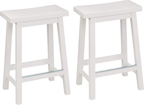 AmazonBasics Classic Solid Wood Saddle-Seat Kitchen Counter Stool with Foot Plate 24 Inch, White, Set of 2 (White Stools)