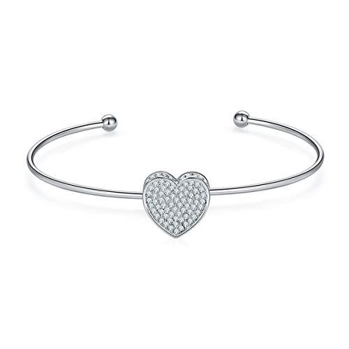 MILATU Heart Bracelet 3A Cubic Zirconia Paved,Platinum-Plated Cuff Bangle Bracelet Jewelry for Women -