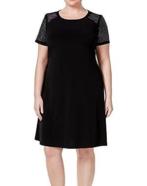 Calvin Klein Women Plus Stud Embellished Shift Dress Black 22W