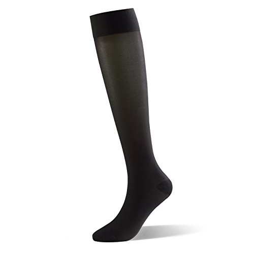 Dr. Comfort Shape to Fit Sheer Comfort Hosiery 15-20mmHg Moderate Support, Women's Compression Stockings, Black, Small ()