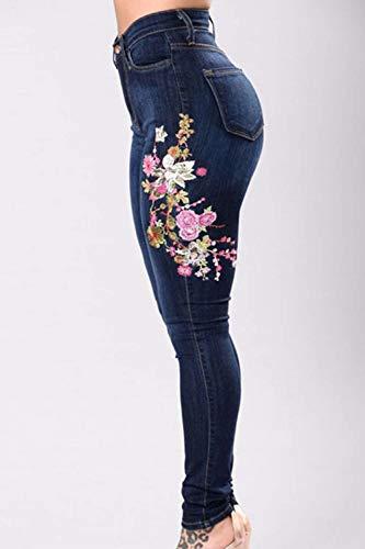 Pitillo Vaqueros Estiramiento Cintura Las Mujeres Delanteros Azul Pantalones Mezclilla De Battercake Casuales Oscuro Botones Bordados Alta Bolsillos Lápiz OxwfcF0