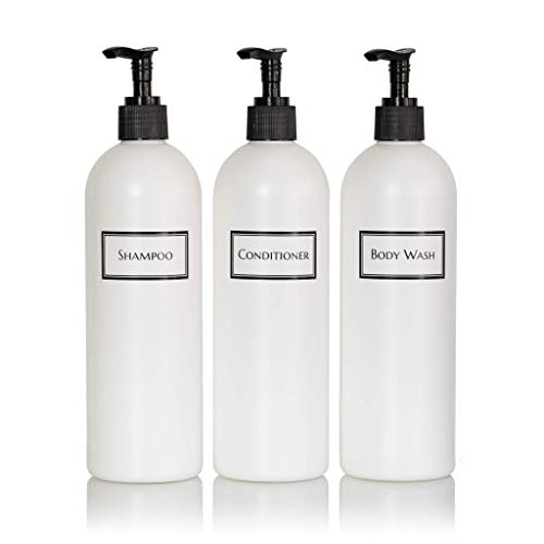 Artanis Home Silkscreened Empty Shower Bottle Set for Shampoo, Conditioner, and Body Wash, Cosmo/Bullet 16 oz 3-Pack, White (Black Pumps)