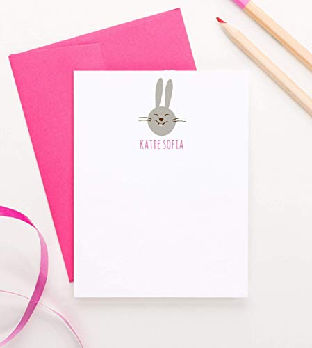 (Bunny Note cards for kids, Baby shower thank you cards, Personalized stationery for girls, Bunny stationary, Your Choice of Color and Quantity )