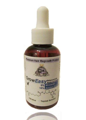 GrowEasy Pas PG pour les hommes: Minoxidil amélioré avec un inhibiteur de DHT, la caféine, de traitement intensif pour la perte de cheveux / Amincissement, la repousse des cheveux (2 oz, un mois d'alimentation) 30 jours garantie de remboursement, Non prop