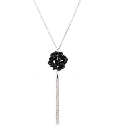PHALIN JEWELRY Women's Ball Pendant Tassel Necklace Delicate Crystal Glass Ball Pendant with Long Lariat Tassel Drop Necklace