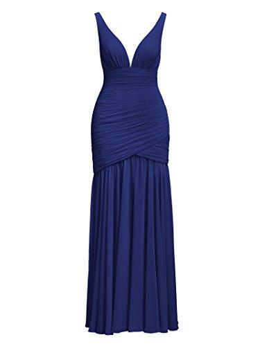 Neck Long V Evening Chiffon Royal Prom Sleeveless Blue Bridesmaid Dresses Alicepub qwE8ZCw