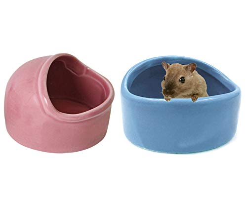 Tfwadmx Hamster Ceramic Bowl, Small Animal Food Bowl and Water Dish for Guinea Pig Gerbil Mice Hedgehog Chinchilla Sugar Glider Rat(2 - Guinea Pig Ceramic