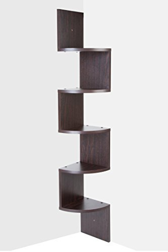 Corner shelf - Espresso Finish corner shelf unit - 5 Tier corner shelves can be used for corner bookshelf or any decor - By Sagler ()