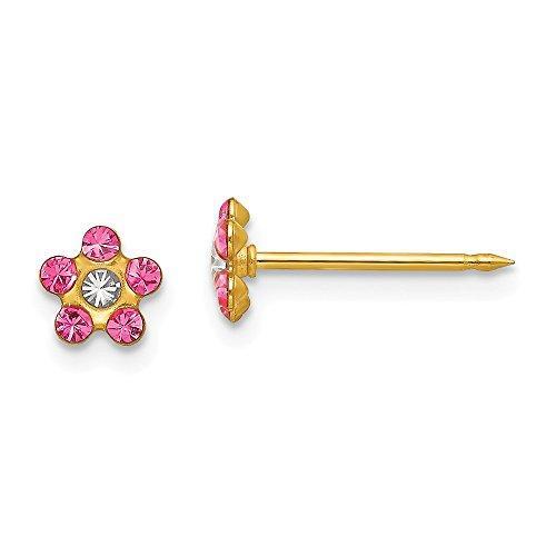 14k Yellow Gold Rose/Aurora Borealis Crystal Flower Earrings (5mm x 5mm)