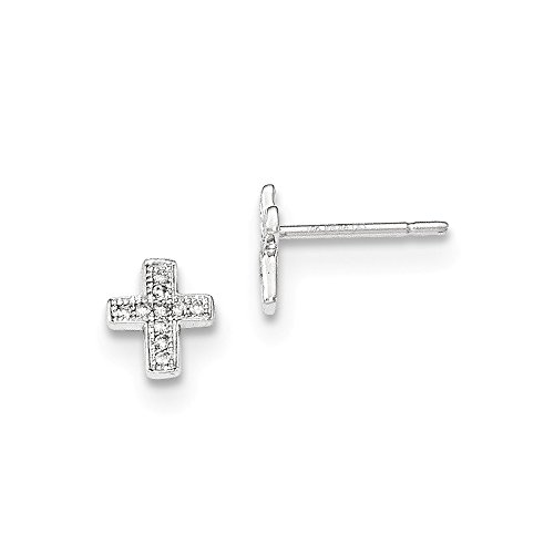 Perfect Jewelry Gift 14K White Gold Polished Diamond Cross Post Earrings by Jewelry Brothers Earrings