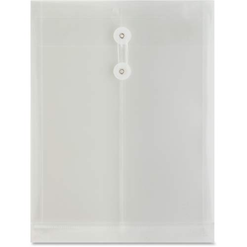 Advantage String & Button Side Loading Transparent Poly Envelopes Folders, Pack of 60, Clear, 13