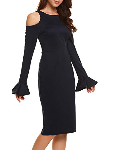 fba143bf97512 Jual AL'OFA Women's O Neck Cold Shoulder Flare Long Sleeve Office ...