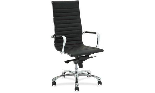 (Lorell(R) Modern Series High-Back Bonded Leather Chair, Black)