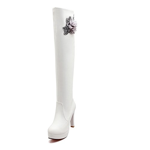 1TO9 Womens High-Heel No-Closure Solid Applique Urethane Boots White
