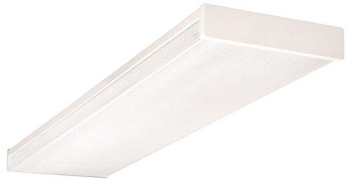 NICOR Lighting 4 Ft. Standard Quad-Lamp 32-Watt T8 Fluorescent Wraparound Ceiling Fixture with Clear Prismatic Acrylic Lens (10374EB)
