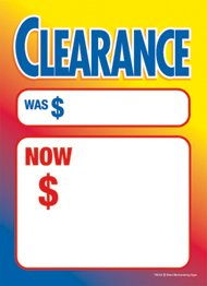 G60CLE Clearance Sale Multi Color - Grommet Reinforced (Brass Ring) Sale Tags - 5'' x 7'' (100 Pack) Carpet and Flooring Store Price Cards 10pt Card Stock for Easy Writing by Retail Merchandising Signs LLC
