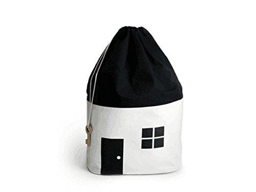 Gelaiken Lightweight House Pattern Storage Box Canvas Storage Box Sundries Storage Bucket (White+Black) by Gelaiken