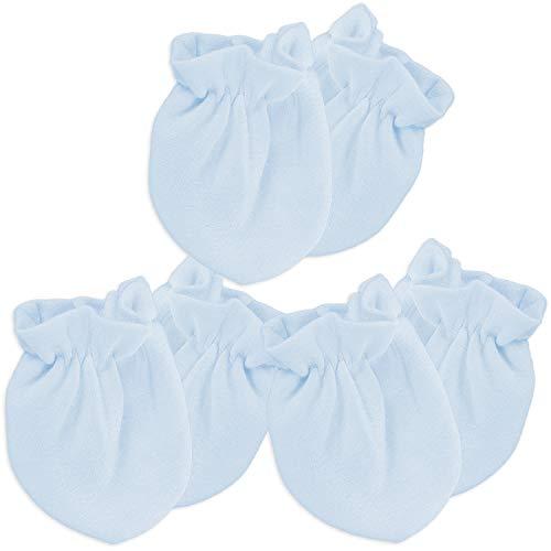 Kalevel 3 Pairs Baby Mittens No Scratch Newborn Gloves 0-6 Months Organic Cotton (Blue)